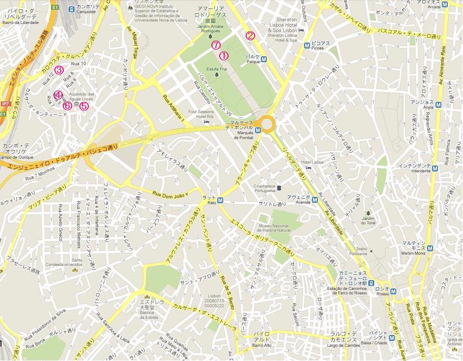 リスボン地図ー2 丸数字