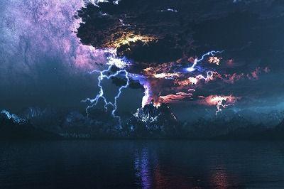 火山、噴火、ライトニング-485x728