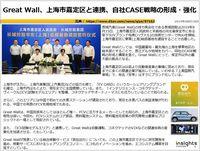 Great Wall、上海市嘉定区と連携、自社CASE戦略の形成・強化のキャプチャー