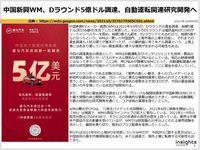 中国新興WM、Dラウンド5億ドル調達、自動運転関連研究開発へのキャプチャー