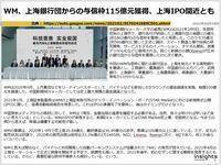 WM、上海銀行団からの与信枠115億元獲得、上海IPO間近とものキャプチャー