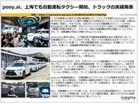 pony.ai、上海でも自動運転タクシー開始、トラックの実績発表のキャプチャー