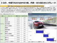 トヨタ、中国でRAV4のPHEV版、内燃・HEVあわせ13グレードのキャプチャー
