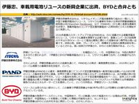 伊藤忠、車載用電池リユースの新興企業に出資、BYDと合弁とものキャプチャー