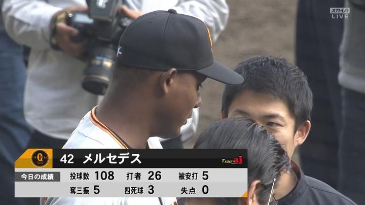 【悲報】巨人・メルセデス、対阪神 4勝0敗 防御率1.02