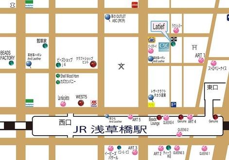 浅草橋駅-ビーズショップ「Latief」地図