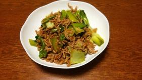 簡単ダイエットレシピ 豚ミンチとチンゲン菜めんつゆ炒めとたまねぎ