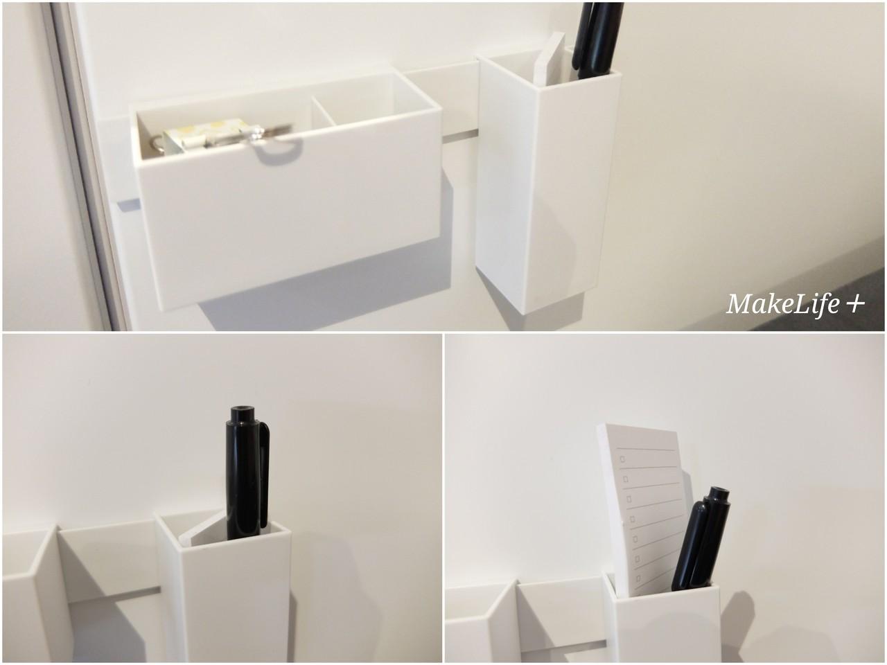 無印のマグネットバーとファイルボックス用ポケットを組み合わせてハンコ入れを玄関ドアに作りました。  頻繁に宅配便を利用するのでここにあるとワンアクションで ...