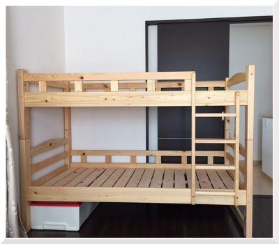 家具の里で購入【国産ひのきのコンパクトな2段ベッド】のレビュー