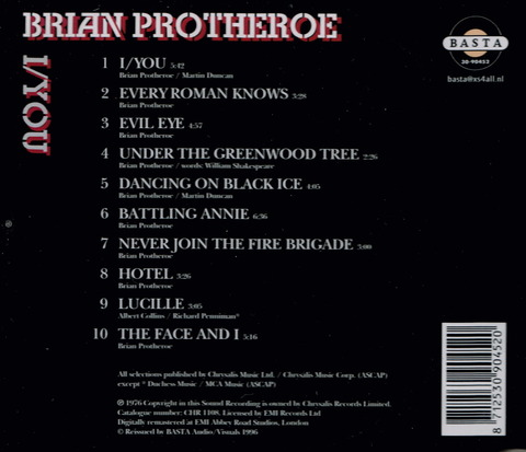 BRIAN PROTHEROE - I YOU (1976), Reissue CD (1996) b