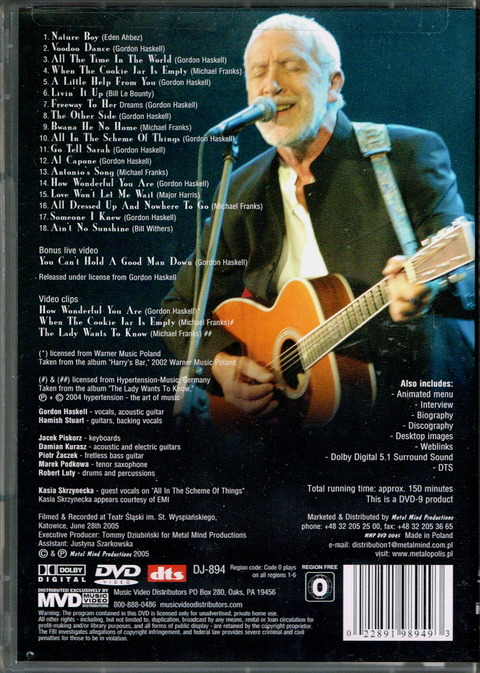 GORDON HASKELL - THE ROAD TO HARRY'S BAR DVD BACK (2005)