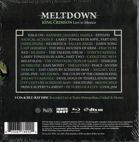 KING CRIMSON Live in Mexico (2018) CD B