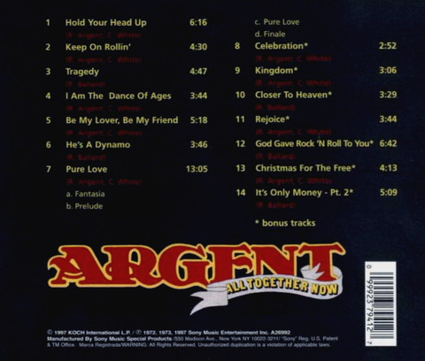 Argent - All Together Now (1972), reissue CD (1997) b