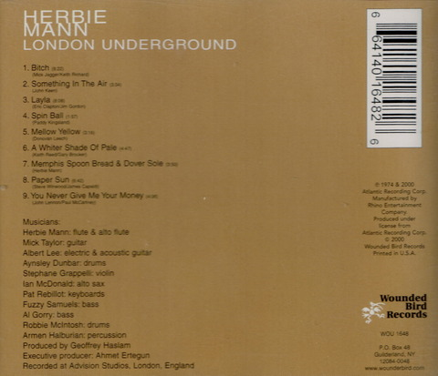 HERBIE MANN - LONDON UNDERGROUND (1974) Reissue CD (2000) b