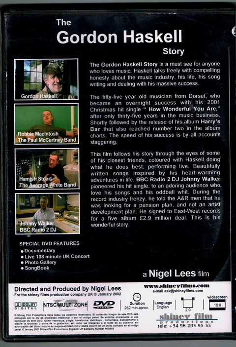 The Gordon Haskell Story DVD Back