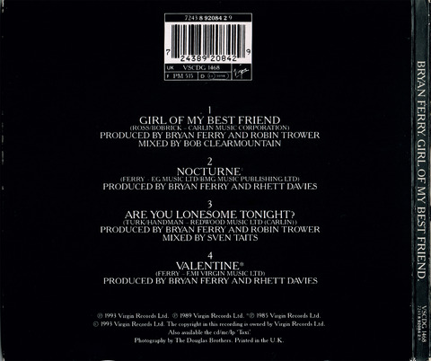 BRYAN FERRY - GIRL OF MY BEST FRIEND (1993) CD BACK