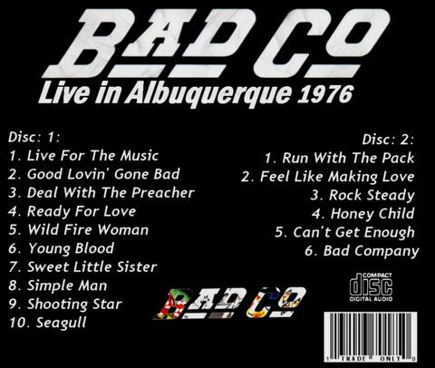 Bad Company - Live Albuquerque 1976 (2006) b