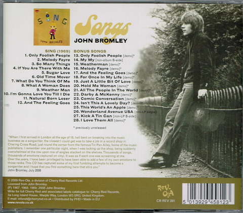 JOHN BROMLEY - SONGS b