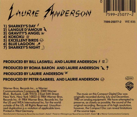 LAURIE ANDERSON - MISTER HEARTBREAK (1984) b