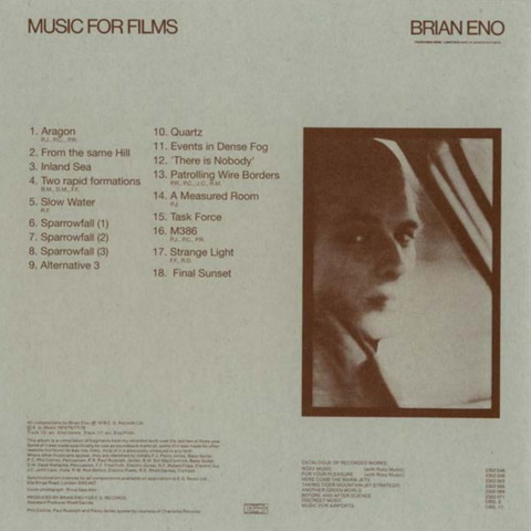 BRIAN ENO - MUSIC FOR FILMS (1976) B