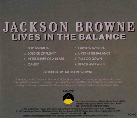 Jackson Browne - Lives In The Balance (1986) b