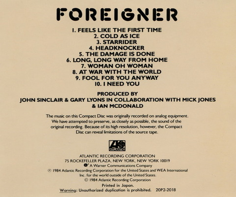 FOREIGNER - FOREIGNER (1977) CD (1984) b