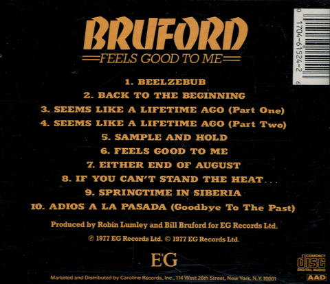 BRUFORD - FEELS GOOD TO ME (1977) B2