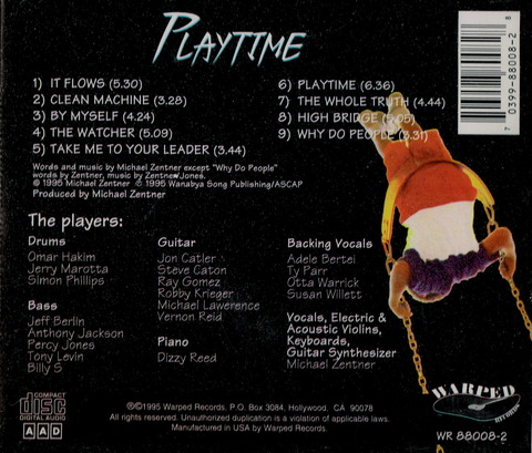 MICHAEL ZENTNER - PLAYTIME (1995) CD b
