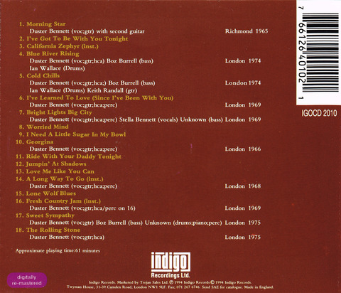 DUSTER BENNETT - Jumpin' at Shadows (1994) CD Back