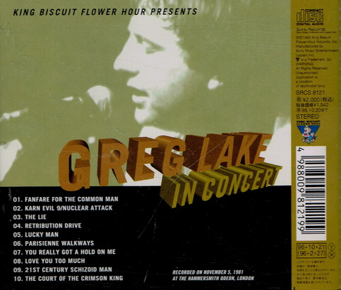 GREG LAKE - IN CONCERT (1995) B
