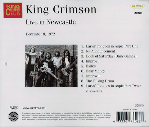 King Crimson - Live in Newcastle December 8, 1972 (2019) CD  b