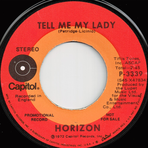 HORIZON - TELL ME MY LADY (1972) B