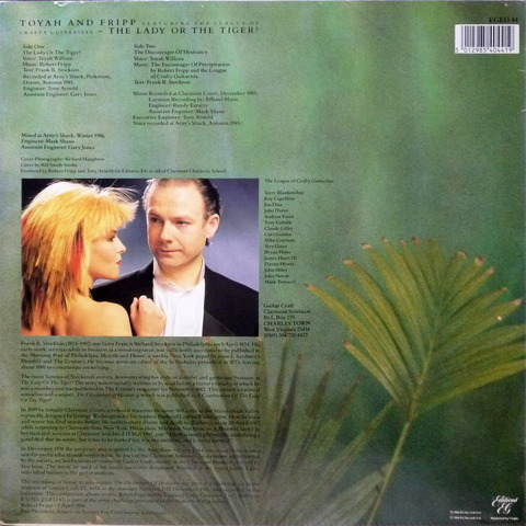 TOYAH AND FRIPP - THE LADY OR THE TIGER (1986) B