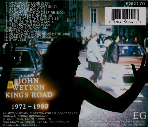 JOHN WETTON - KING'S ROAD 1972 - 1980 (1987) CD b