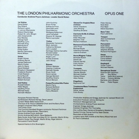 THE LONDON PHILHARMONIC ORCHESTRA - OPUS ONE (1980) I