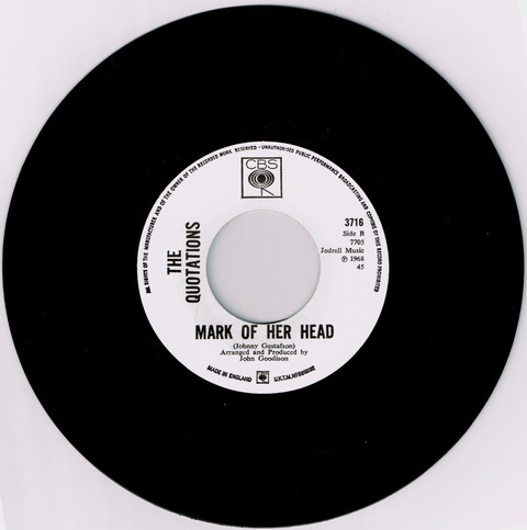 THE QUOTATIONS - MARK OF HER HEAD (1968) B
