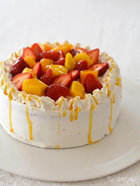 いちごとマンゴーのショートケーキ