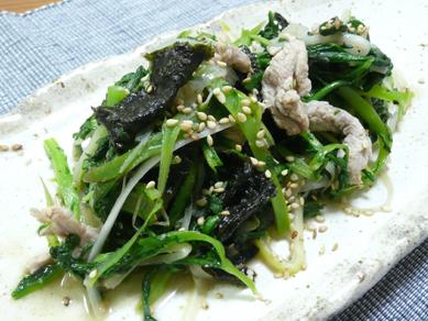 春菊と豚肉の磯炒め