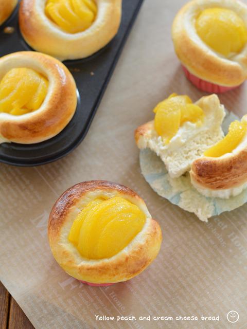 黄桃とクリームチーズのパン_TOMIZ1911-2