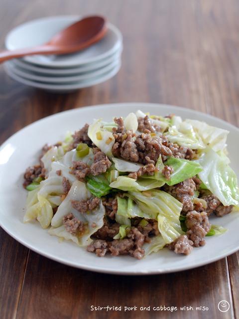 豚ひき肉とキャベツのほんのり甘みそ炒め190725