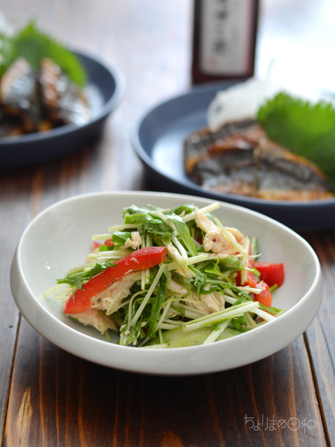 晩ごはん180521_ササミと水菜のマリネサラダ