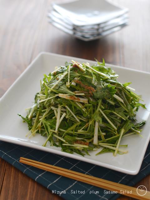 水菜の梅肉ごまサラダ190216