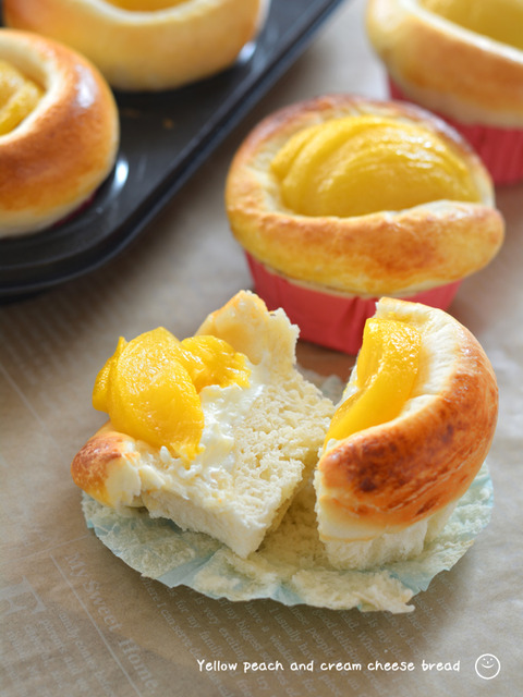 黄桃とクリームチーズのパン_TOMIZ1911-3
