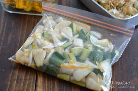 作り置き200403_きゅうりと新玉ねぎのピリ辛漬け