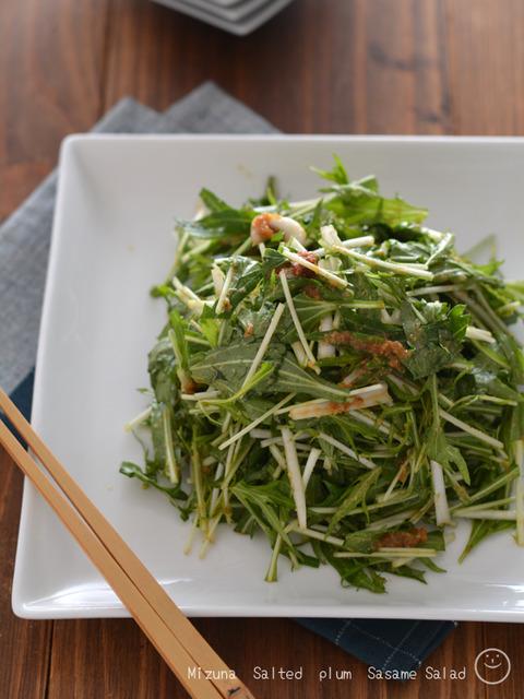 水菜の梅肉ごまサラダ190216-2