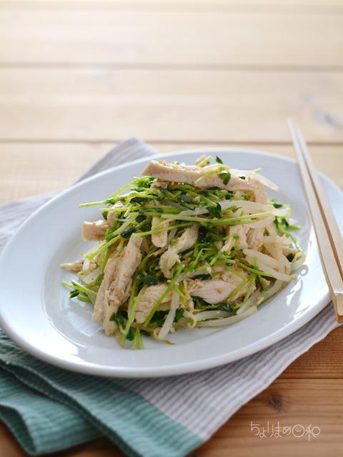 塩鶏ともやしと豆苗のサラダ