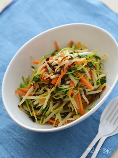 もやしと豆苗の塩昆布炒めサラダ2