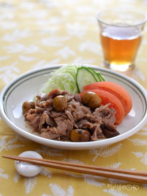 甘栗と豚肉のしょうが炒め_クレハ201711
