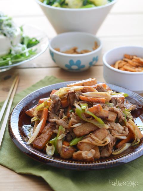 豚肉と長いもの香味甘醤油炒め3