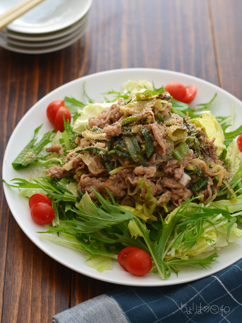 牛ねぎ炒めのっけサラダ2